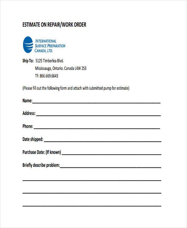 27 work order templates free premium templates for Printable work orders
