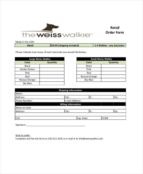 printable retail order