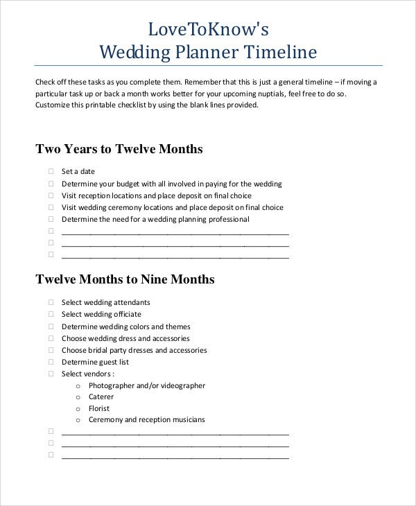 printable wedding timeline