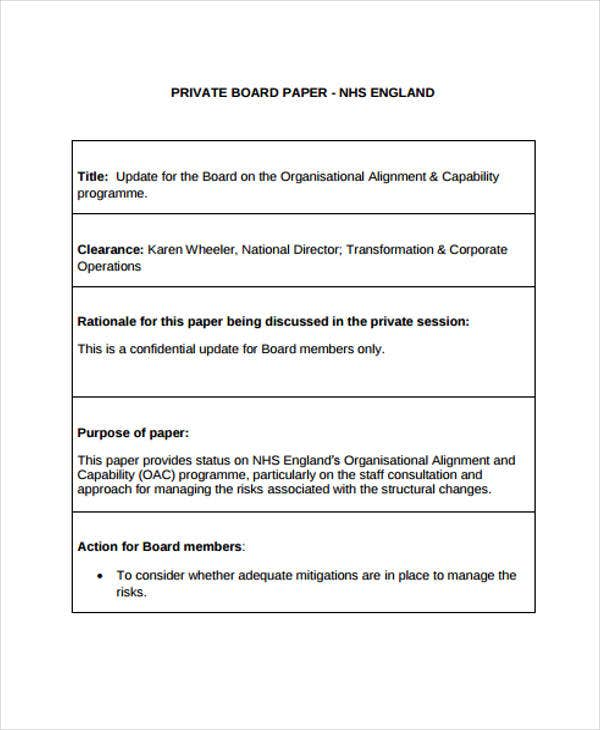 private board paper