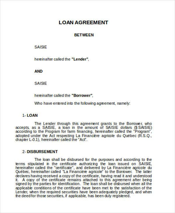 20+ Loan Agreement Formats | Free & Premium Templates