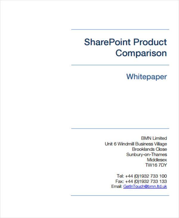product comparison white paper
