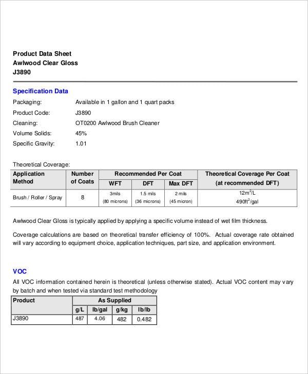 product data sheet1