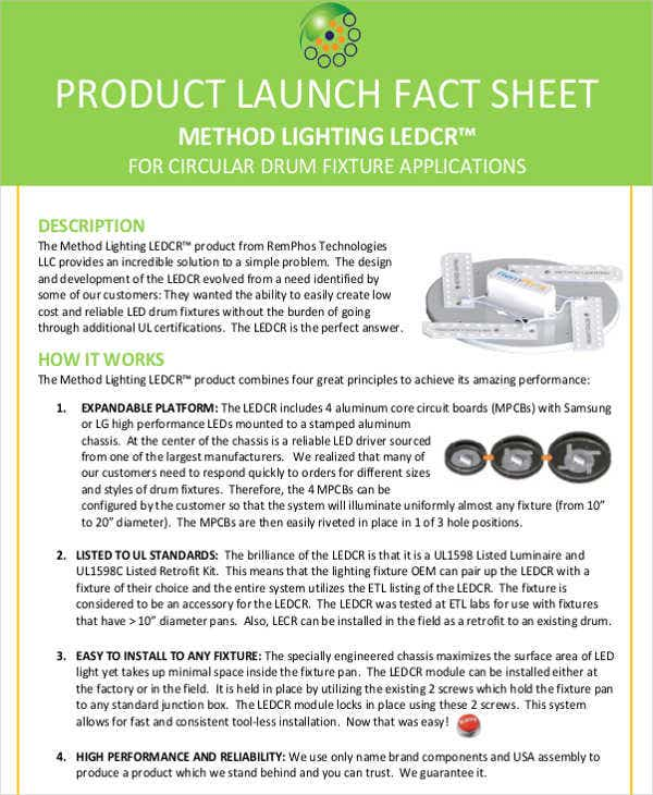 product launch fact sheet