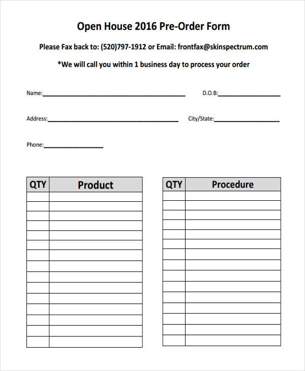 Product Order Forms  Free Samples Examples Format Download