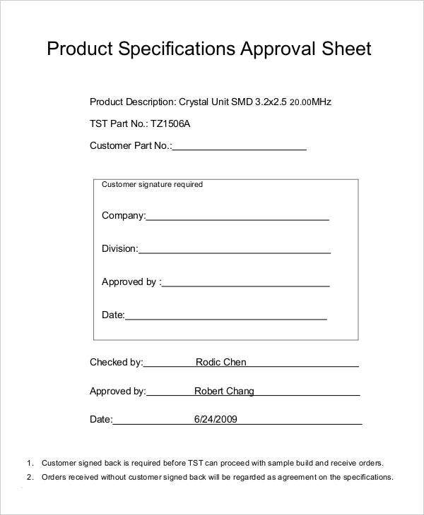 product specifications approval sheet