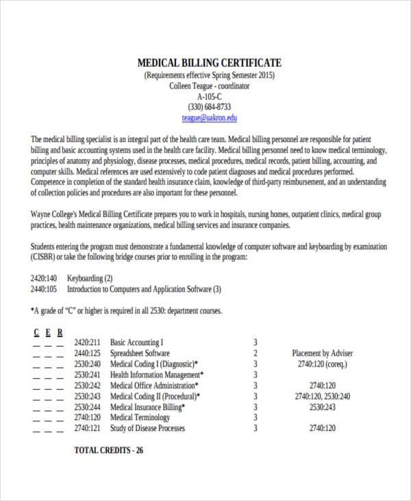 professional billing certificate