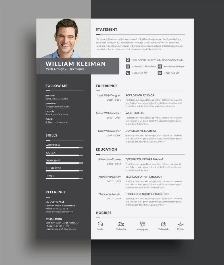 professional clean resume 788x932