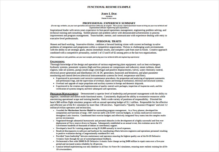 professional experience functional resume