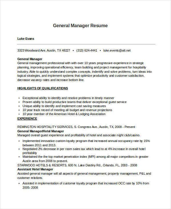 professional general manager resume