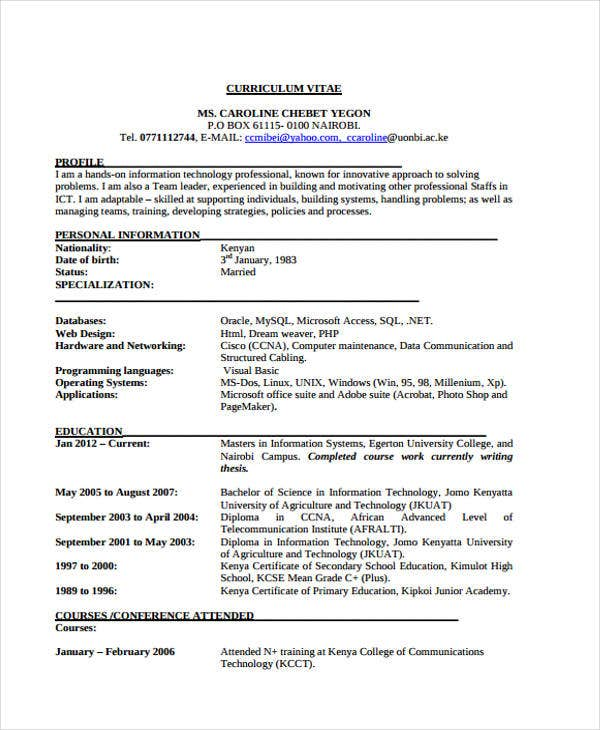 professional it manager - Simple Professional Resume