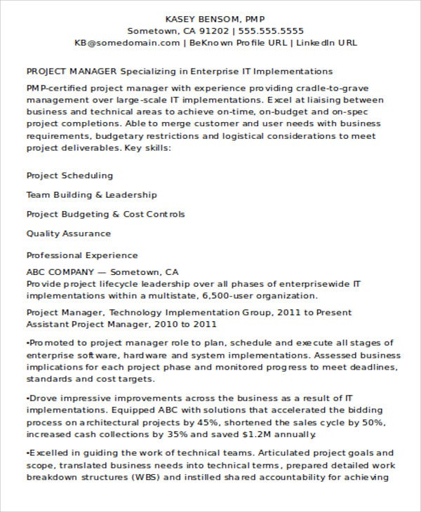professional it project manager - Architectural Project Manager Resume