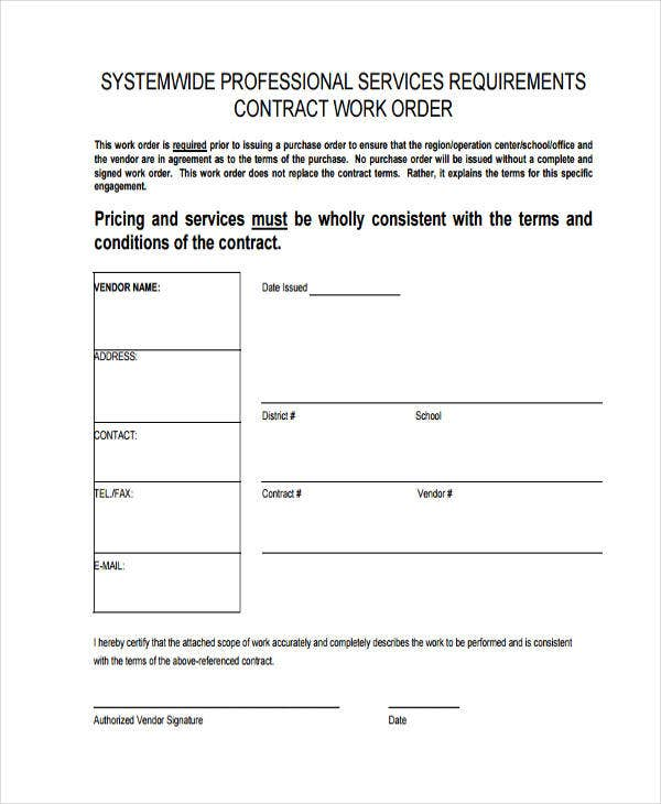 professional service work order