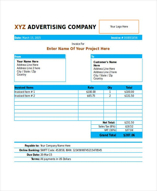 8 Advertising Invoice Templates Free Word Pdf Excel Format Download Free Premium Templates