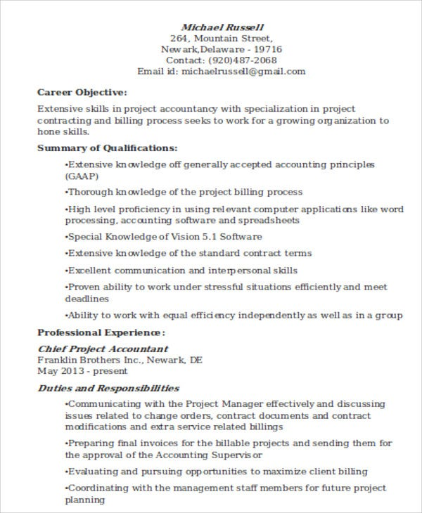 project accountant resume objective