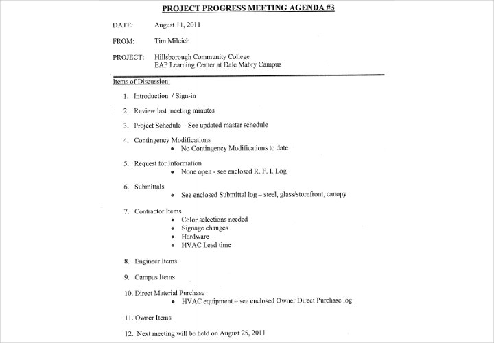 project agenda example