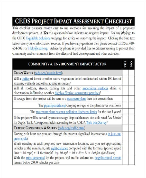 project assessment checklist