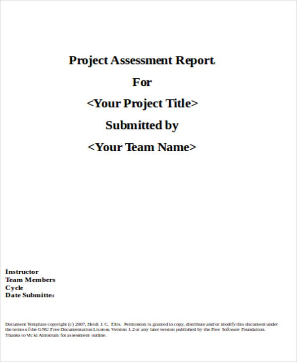 project assessment report