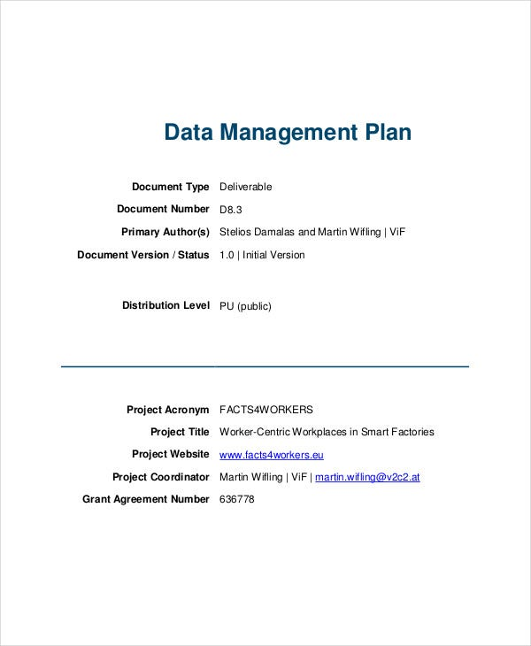project data management plan
