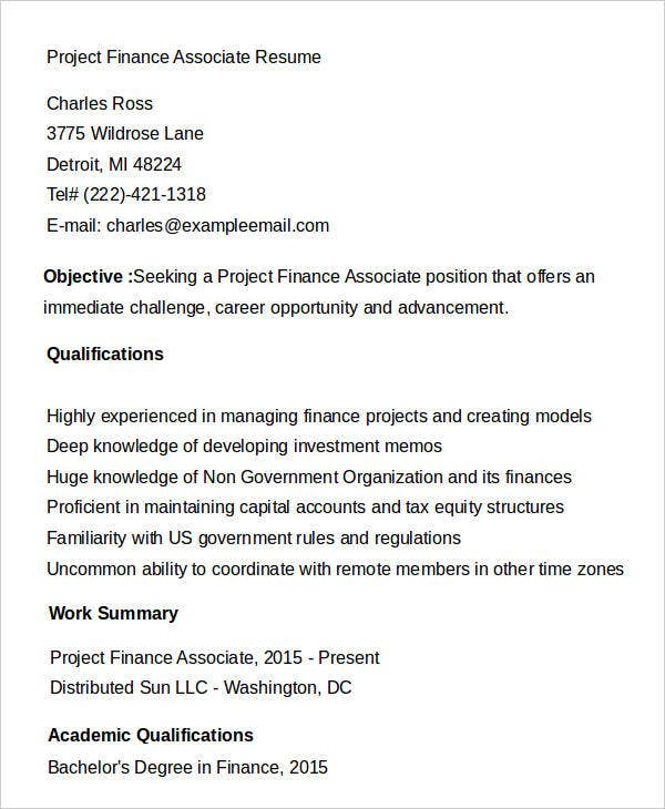 Project Finance Associate Resume