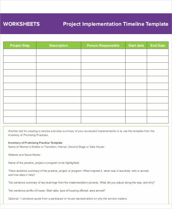 project implementation timeline