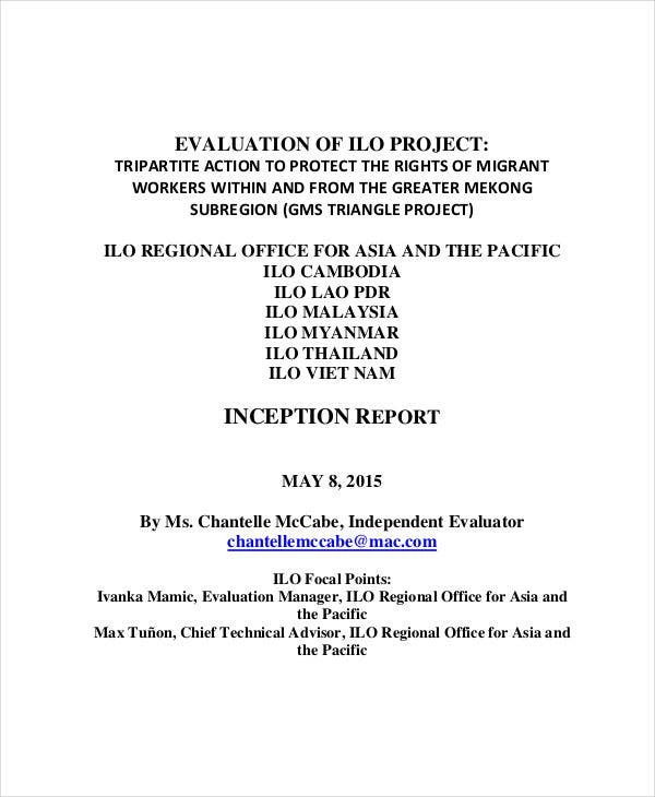 project inception evaluation report