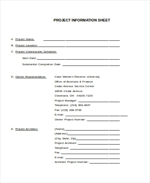 project information sheet
