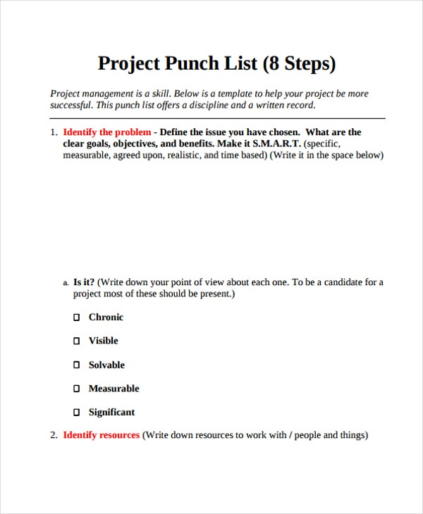 project list example