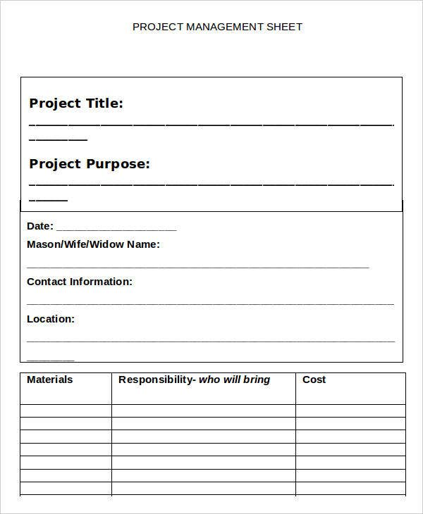 Project Management Sheet