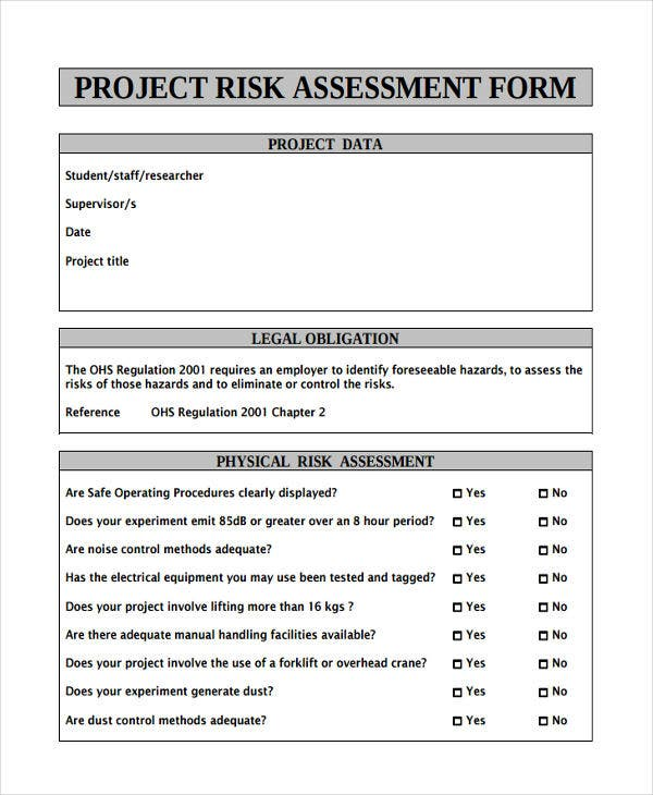 25 Sample Risk Assessment Forms Free Premium Templates