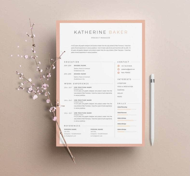 project manager customizable resume 788x733