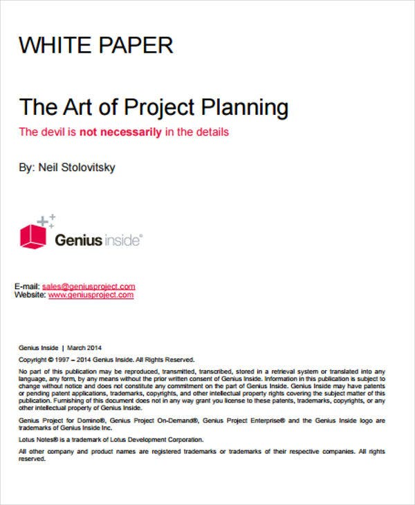 project plan white paper