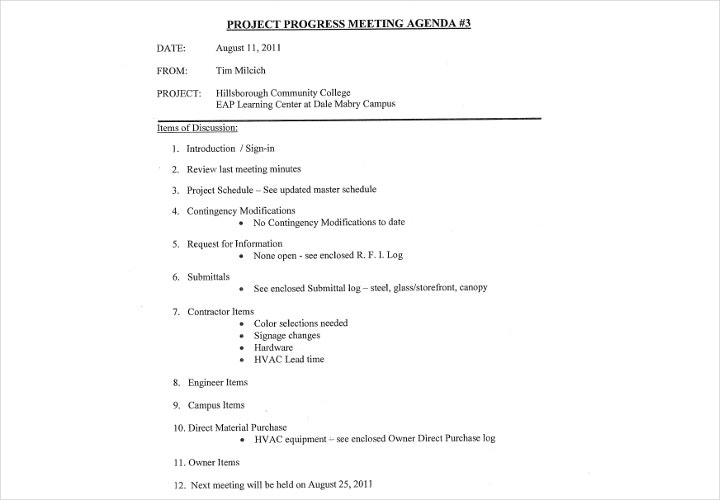 project progress meeting agenda