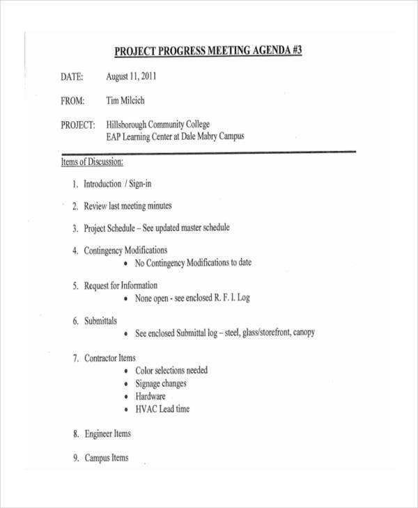 project progress meeting agenda1