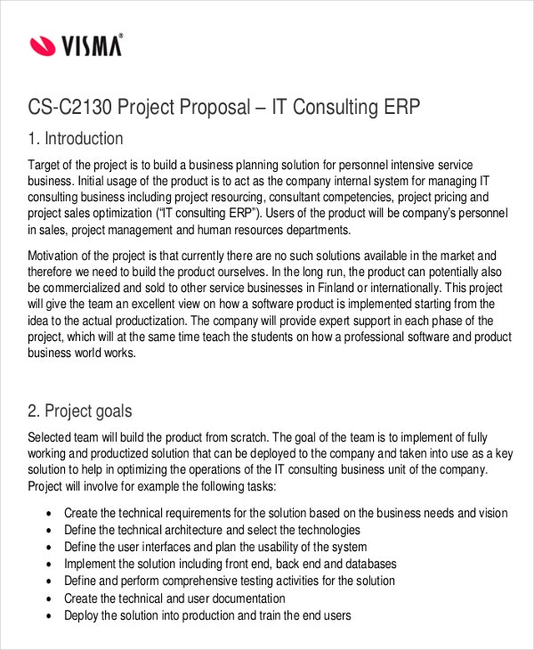 project proposal for it consulting
