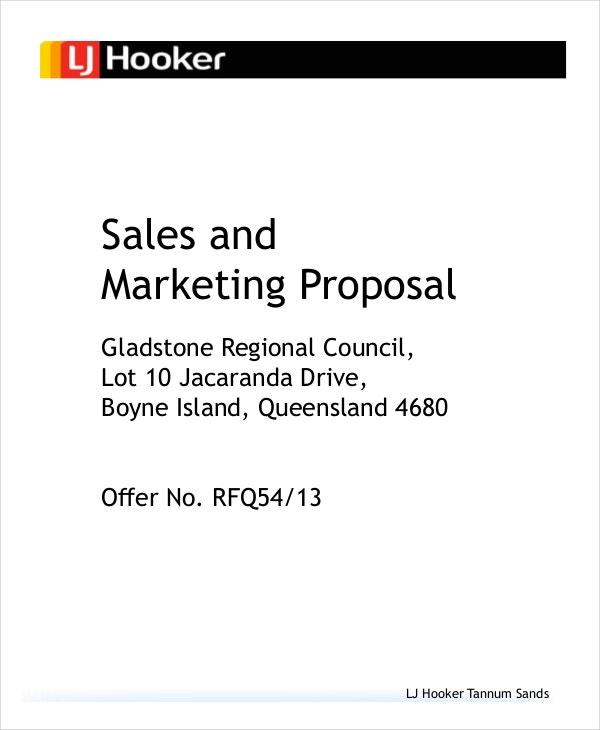 project proposal for marketing sales