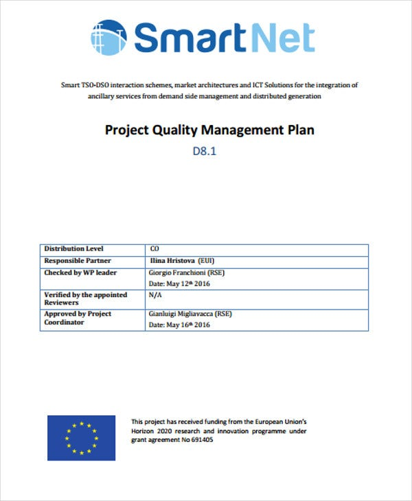 8 quality management plan templates free sample example