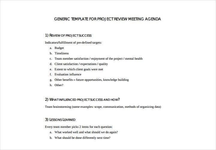 project review meeting agenda