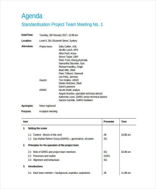project team meeting agenda1