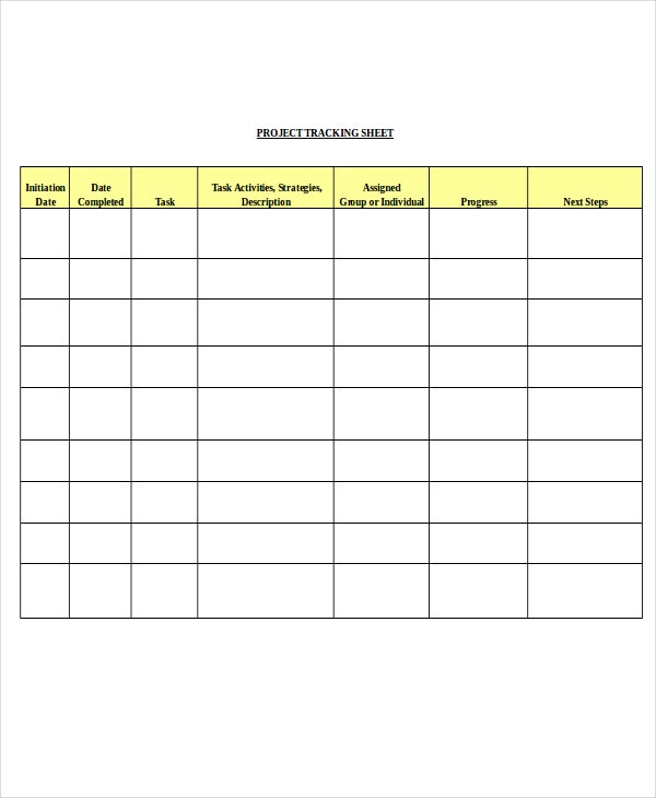 project tracking sheet