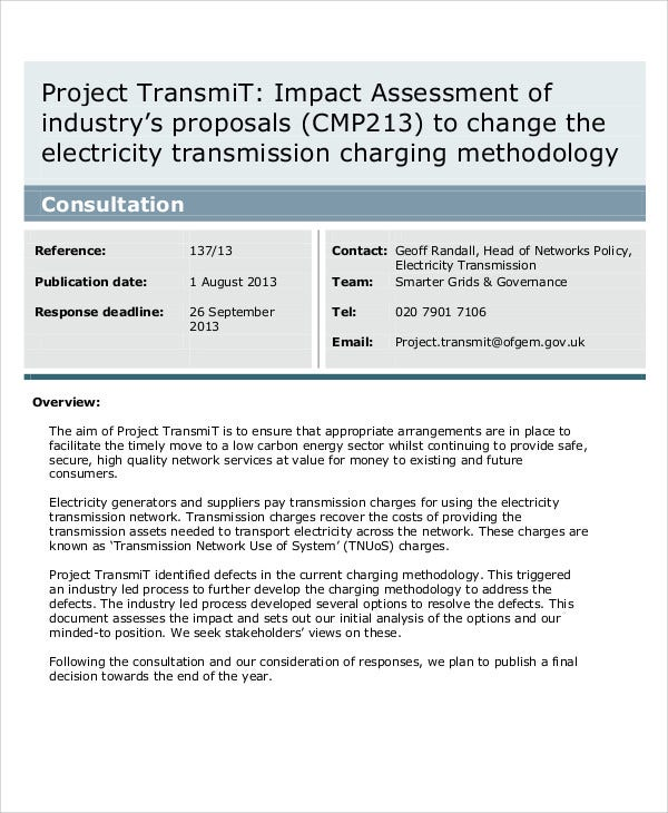 project transmit impact assessment