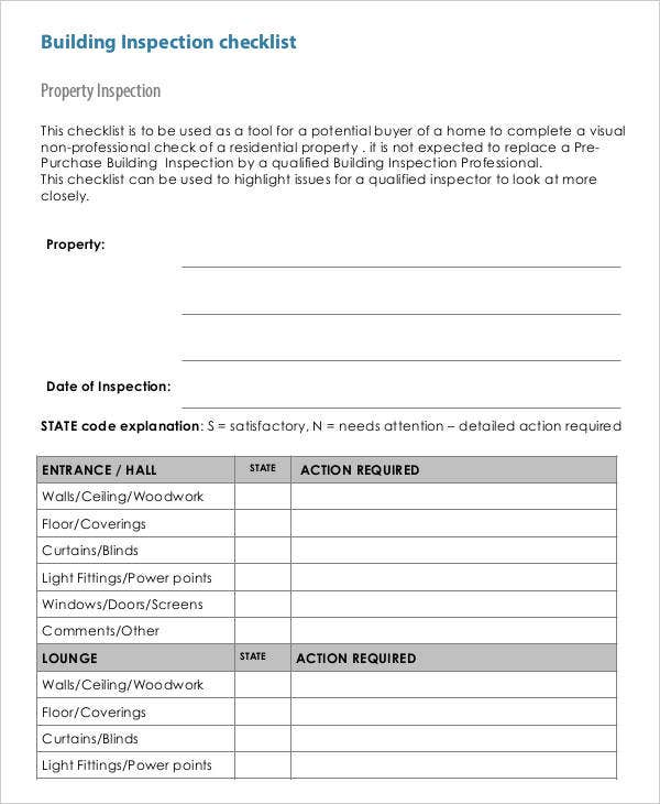 Property Building Inspection Checklist