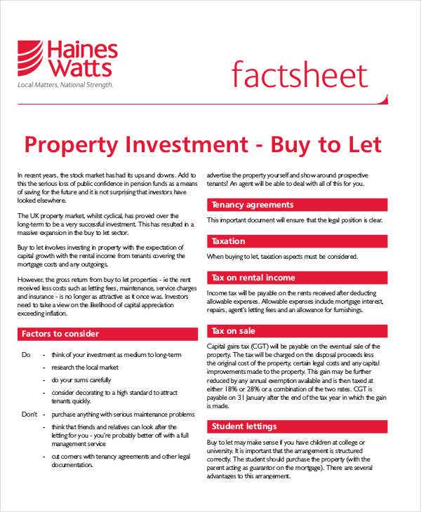 property investment fact sheet