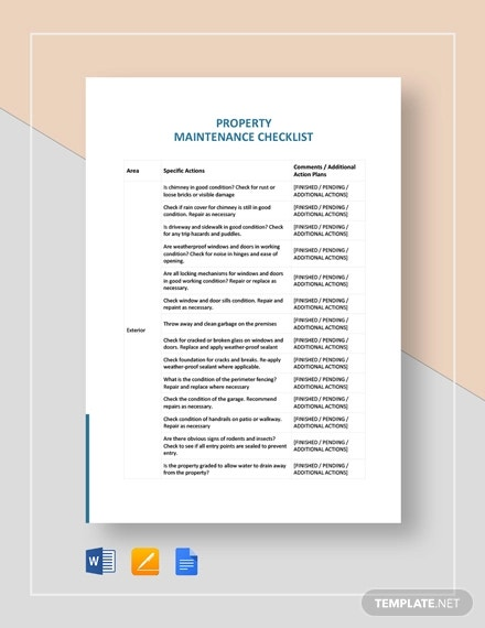 property maintenance checklist template