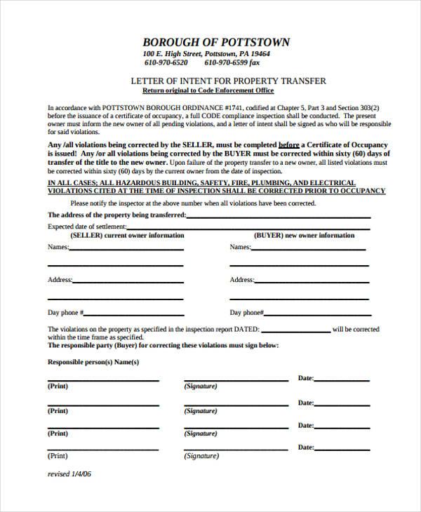 property name transfer letter