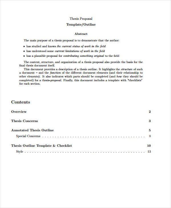 proposal outline of thesis example
