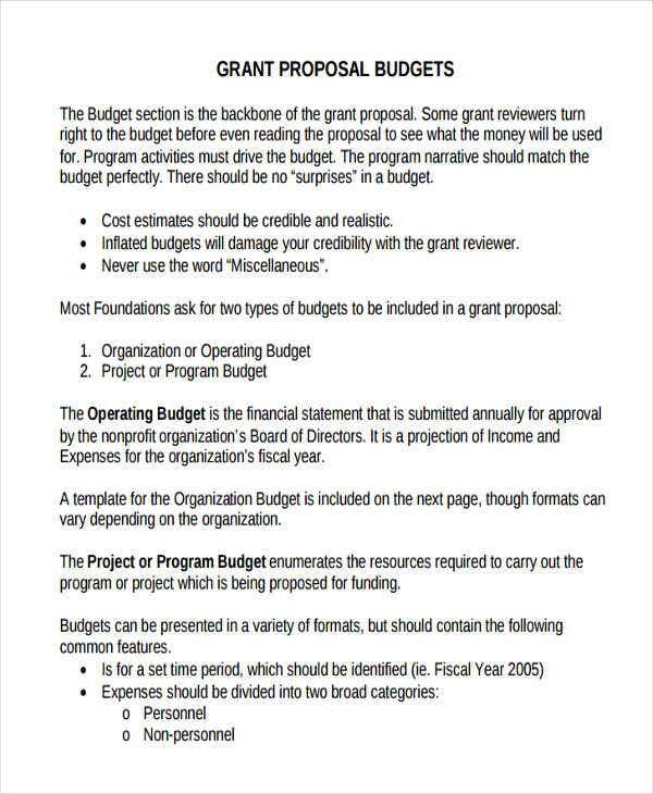 proposal for grant budget