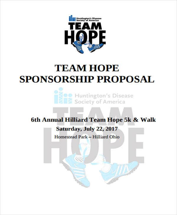 proposal for hope team sponsorship