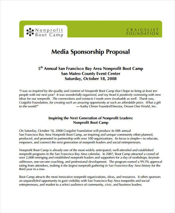 proposal for media sponsorship sample