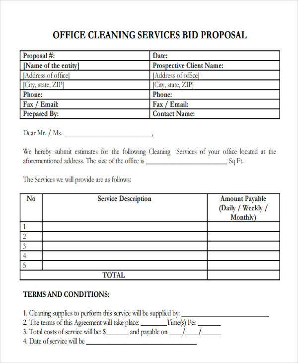 proposal for office cleaning